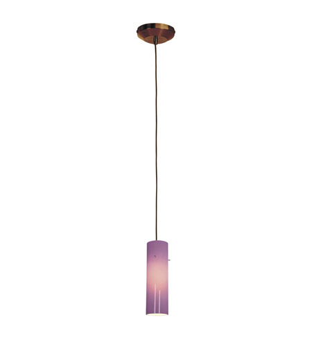 Access Lighting Delta 1 Light Line Voltage Pendant with Anari Silk Glass in Bronze with Plum Glass 97932-BRZ/PLM photo