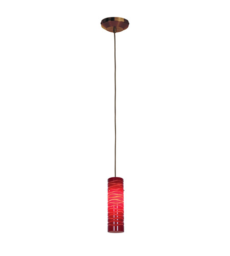 Access Lighting Delta 1 Light Line Voltage Pendant with Anari Silk Glass in Bronze with Red Lined Glass 97932-BRZ/REDLN photo