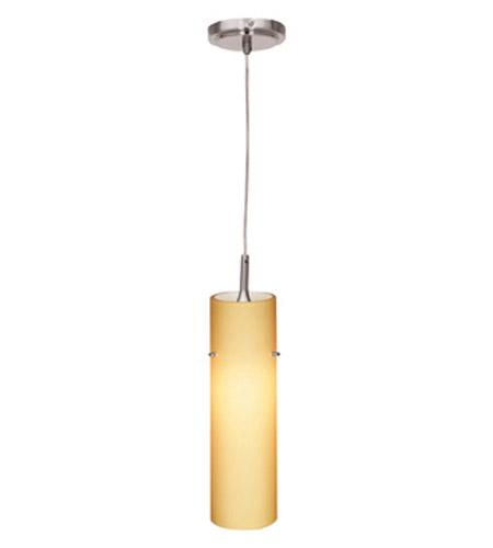 Access 97932-BS/AMB Delta 1 Light 3 inch Brushed Steel Mini-Pendant Ceiling Light in Amber photo