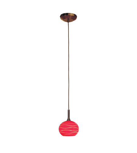 Access Lighting Delta 1 Light Line Voltage Pendant with SphereEtched Glass in Bronze with Red Lined Glass 97979-BRZ/REDLN photo