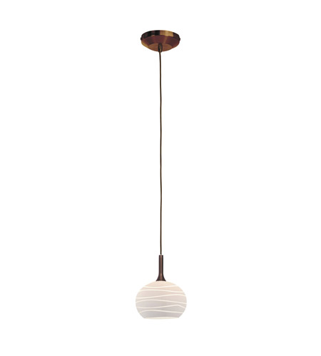 Access Lighting Delta 1 Light Line Voltage Pendant with SphereEtched Glass in Bronze with White Lined Glass 97979-BRZ/WHTLN photo
