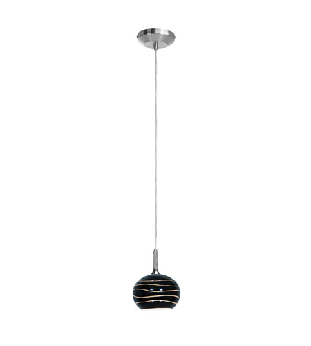 Access 97979-BS/BLKLN Delta 1 Light 5 inch Brushed Steel Pendant Ceiling Light in Black Lined photo