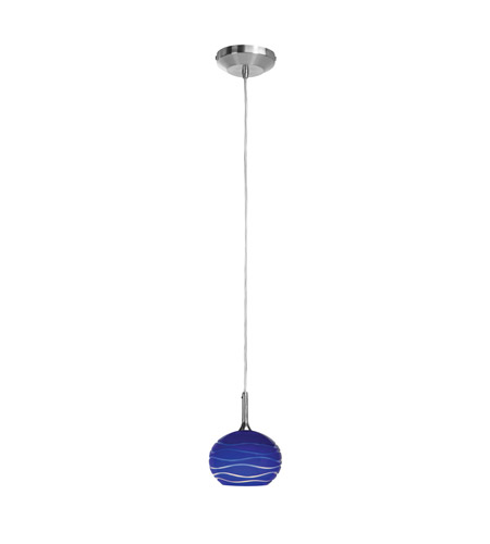 Access 97979-BS/BLULN Delta 1 Light 5 inch Brushed Steel Pendant Ceiling Light in Blue Lined photo
