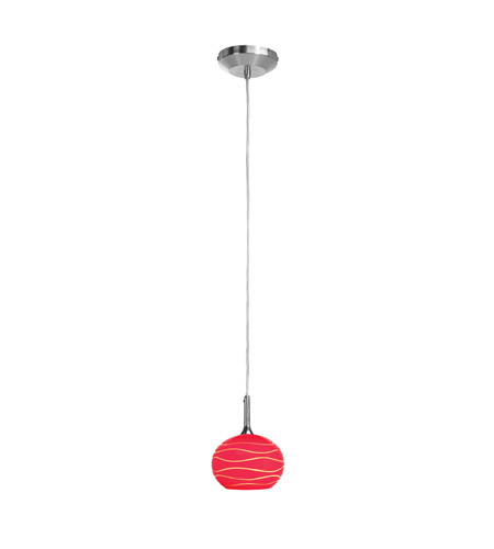 Access 97979-BS/REDLN Delta 1 Light 5 inch Brushed Steel Pendant Ceiling Light in Red Lined photo