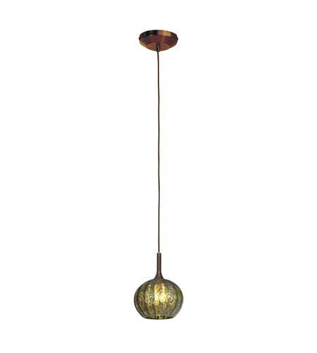 Access Lighting Delta 1 Light Line Voltage Pendant with Safari Opaline Glass in Bronze with Green Ribbed Opaline Glass 97980-BRZ/GRO photo
