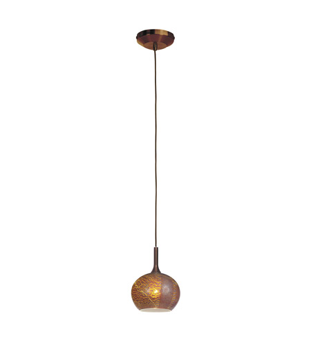 Access Lighting Delta 1 Light Line Voltage Pendant with Safari Opaline Glass in Bronze with Silver Amber Opaline Glass 97980-BRZ/SAO photo