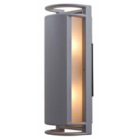 Access Lighting Poseidon 2 Light Wet Location Bulkhead in Satin with Ribbed Frosted Glass 20343MG-SAT/RFR