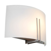 Access Lighting Prong 2 Light Vanity/Wall Sconce in Brushed Steel with White Glass 20447-BS/WHT