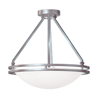 Aztec 3 Light 17 inch Brushed Steel Semi Flush Bowl Ceiling Light