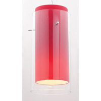 Glass in Glass Brushed Steel Glass Shade in Clear and Red, Cylinder