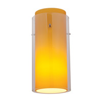 Glass in Glass Brushed Steel Glass Shade in Clear Outer Amber Inner, Cylinder