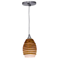 Access 23733-BS/AMB Adele 1 Light 3 inch Brushed Steel Pendant Ceiling Light in Amber