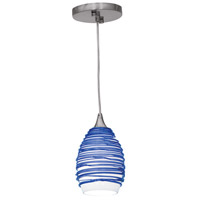 Access Lighting Adele 1 Light Pendant in Brushed Steel 23733-BS/BLU