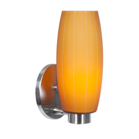 Access Lighting Cognac 1 Light Wall Sconce in Brushed Steel with Amber Glass C23970BSAMBEN1118BS