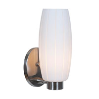 Access Lighting Cognac 1 Light Wall Sconce in Brushed Steel with White Glass C23970BSWHTEN1118BS
