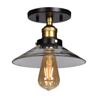 The District LED 9 inch Black and Gold Semi Flush Mount Ceiling Light