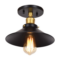 The District LED 10 inch Black and Gold Semi Flush Mount Ceiling Light