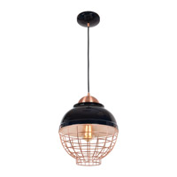 Access 24881LEDDLP-SBL/CP Dive LED 12 inch Shiny Black and Copper Pendant Ceiling Light