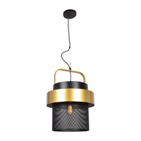 Fusion LED 16 inch Black and Gold Pendant Ceiling Light