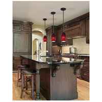 Access Lighting Janine 1 Light Glass Pendant in Oil Rubbed Bronze with Ruby Sky Glass 28011-1R-ORB/RUSKY