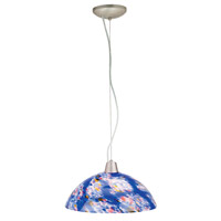 Access Lighting Ami Fire 1 Light Glass Bowl Pendant in Brushed Steel 28065-BS/BLU photo thumbnail