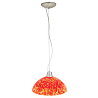 Access Lighting Ami Fire 1 Light Glass Bowl Pendant in Brushed Steel 28065-BS/RED photo thumbnail