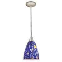 Access Lighting Shaney Fire 1 Light Glass Pendant in Satin 28444-SAT/BLU photo thumbnail