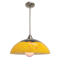 Access Lighting Flora Fire 1 Light Glass Bowl Pendant in Brushed Steel 28565-BS/AMB photo thumbnail