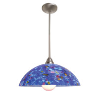 Access Lighting Flora Fire 1 Light Glass Bowl Pendant in Brushed Steel 28565-BS/BLU photo thumbnail