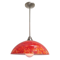 Access Lighting Flora Fire 1 Light Glass Bowl Pendant in Brushed Steel 28565-BS/RED photo thumbnail