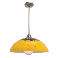 Access Lighting Laura Fire 1 Light Glass Bowl Pendant in Brushed Steel 28765-BS/AMB photo thumbnail