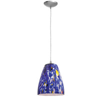 Access Lighting Tali Fire 1 Light Glass Pendant in Brushed Steel 28844-BS/BLU photo thumbnail