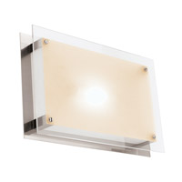 Access Lighting Vision 2 Light Flush Mount in Brushed Steel with Frosted Glass C50034BSFSTEH3218Q