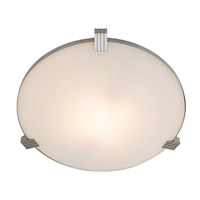 Access Lighting Luna 1 Light Flush Mount in Brushed Steel 50069-BS/WHT