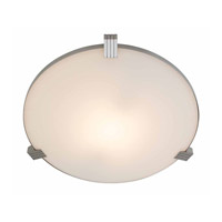 Access Lighting Luna 1 Light Flush Mount in Brushed Steel 50070-BS/WHT
