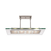 Access Lighting Aquarius 4 Light Pendant in Brushed Steel with Clear with Frosted Ring Glass C50108BSCLREH3418Q