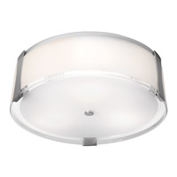 Access 50121-BS/OPL Tara 3 Light 18 inch Brushed Steel Flush Mount Ceiling Light in Incandescent