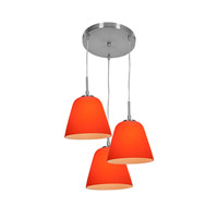 Access Lighting Aire 3 Light Silk Glass Pendant in Brushed Steel with Orange Glass 50173-BS/ORG