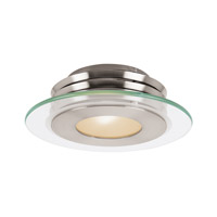 Access Lighting Helius 1 Light Flush Mount in Brushed Steel with Clear Frosted Glass 50480LED-BS/CFR