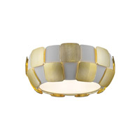 Layers LED 14 inch White Flush Mount Ceiling Light in Gold