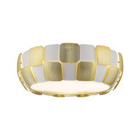 Layers 4 Light 18 inch White Flush Mount Ceiling Light in Gold Acrylic, Incandescent