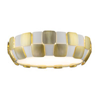 Access 50902-WH/GLD Layers 6 Light 22 inch White Flush Mount Ceiling Light in Incandescent Gold Acrylic