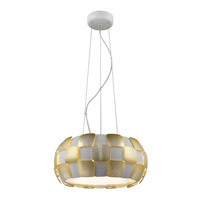 Layers 5 Light 18 inch White Pendant Ceiling Light in Gold Acrylic, Incandescent
