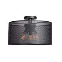 Epic 5 Light 20 inch Black Semi Flush Mount Ceiling Light