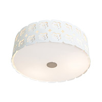 Access Lighting Lacey 3 Light Laser Cut Metal Flush-Mount in Chrome with Opal Glass 50993-CRM/OPL