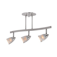 Comet 3 Light 120v Brushed Steel Semi-Flush Mount Rail Ceiling Light in Incandescent