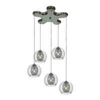 Access 52076-CH/CLR Aeria 5 Light 14 inch Chrome Pendant Ceiling Light