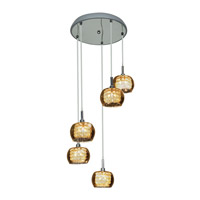Glam 5 Light 14 inch Chrome Pendant Ceiling Light