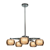Glam 5 Light 23 inch Chrome Chandelier Ceiling Light