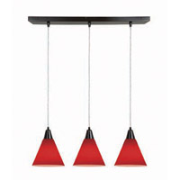 Access Lighting Inari Silk 3 Light Maxi Pendant in Oil Rubbed Bronze 52304-ORB/RED photo thumbnail